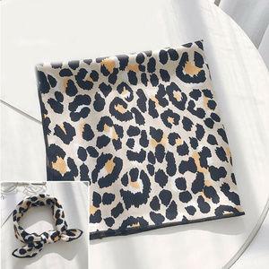 Animal Leopard Print Satin Square Hair Tie Scarf